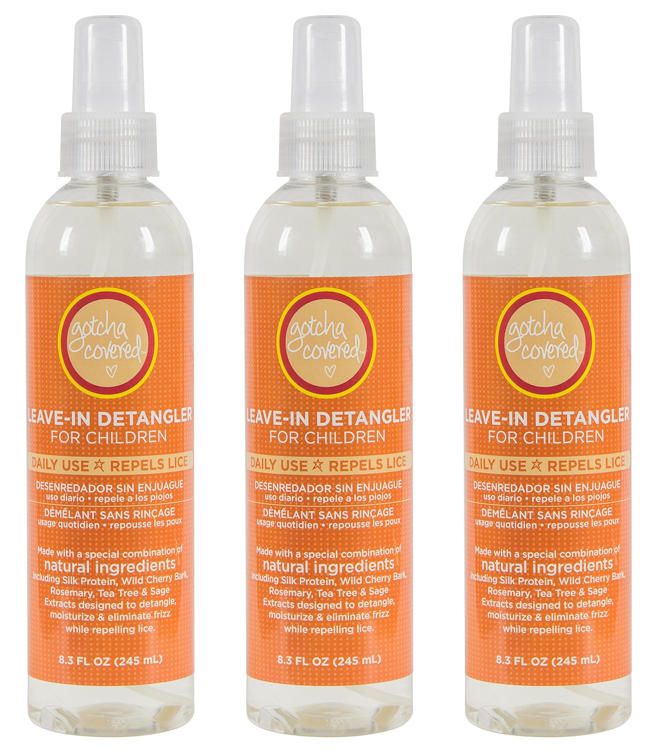 LICE PREVENTION HAIR DETANGLER | 3 Bottles 8.45 oz each 25.35 oz Total | All Natural With Lavender, Rosemary, Citronella, Tea Tree Essential Oils |