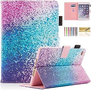 Dteck Case for iPad Mini 5/4/3/2/1 - Slim Premium Leather Multi-Angle View Stand Folio Smart with Auto Wake/Sleep Soft Back Cover for Apple iPad Mini 5th Gen 2019/Mini 4/Mini 3/Mini 2, Rainbow Sand