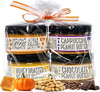 product image for Nutty Novelties Fall Sampler Peanut Butter Gift Pack - Pumpkin Spice, Honey Roasted, Cappuccino & Chocolate Peanut Butter - Healthy Peanut Butter - 4 Ounces, Pack of 4