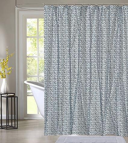 Style Quarters Blue Batik Pintuck Environmental Friendly Shower Curtain 72quot W X L