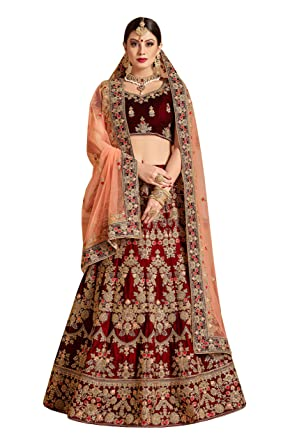 76a6fcafa0 Sk Clothing Women's Velvet and Net Bridal Lehenga Choli (Maroon, Free  Size): Amazon.in: Clothing & Accessories