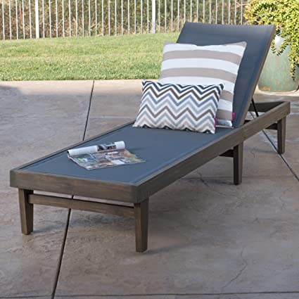 Awesome Della Outdoor Dark Grey Mesh Chaise Lounge With Grey Finished Acacia Wood  Frame