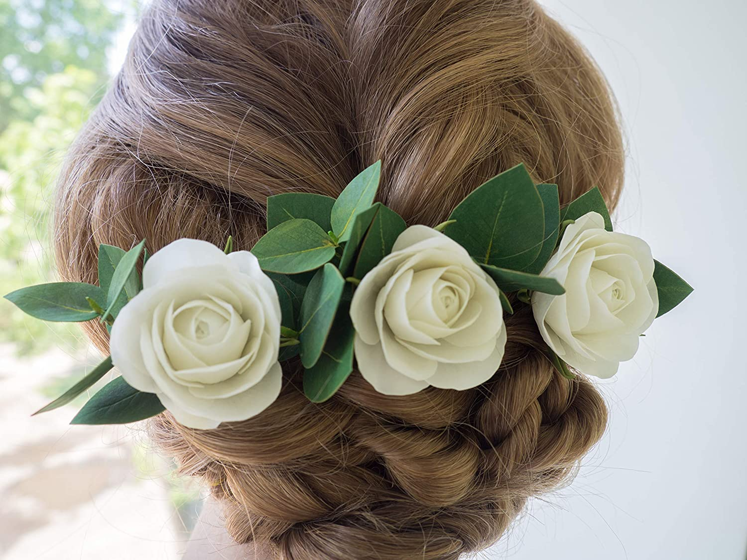 Floral Set of 5 Hair Pins with Eucalyptus Leaves and White Rose Hair Pins Greenery Hair Piece