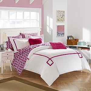 Chic Home Trace Bedding Set, Queen Comforter, Fuchsia