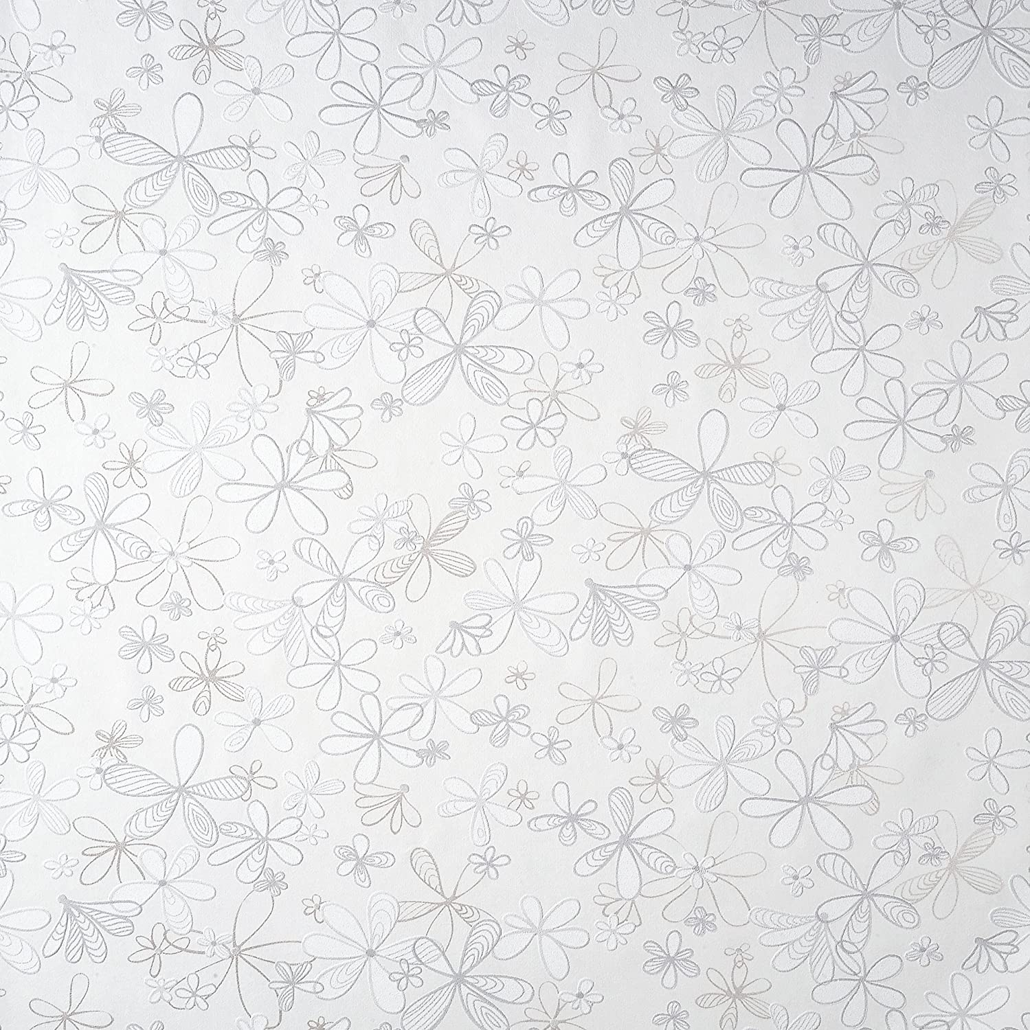 by Romosa Wallcoverings BB7340 Double Roll White Floral Wallpaper for Walls Petals