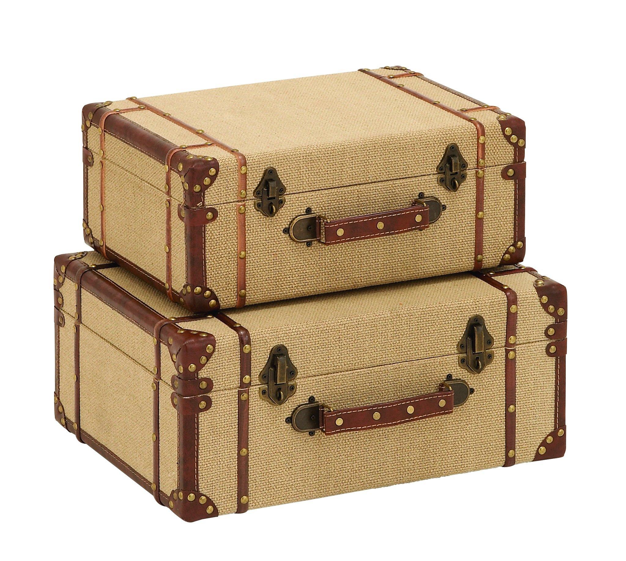 Benzara Old Look Burlap Travel Suitcase Set Accents