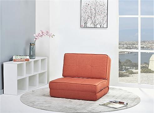 Schlafsessel Gästebett Jugendsessel Bettsessel (Stoffbezug orange ...
