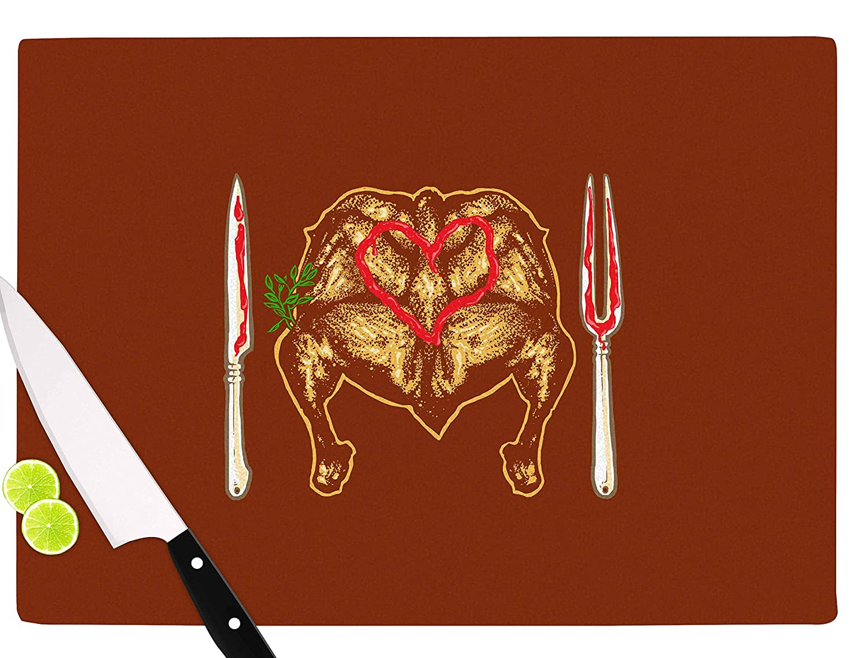11.5 x 8.25 Multicolor KESS InHouse RT1071ACB01 BarmalisiRTBWeekly Menu Red Digital Cutting Board