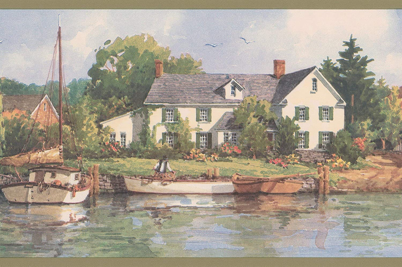 Retro Art Village By The Lake Marina Boats Rustic Wallpaper Border Retro Design Roll 15 X 7 Size:7 by 5 yards