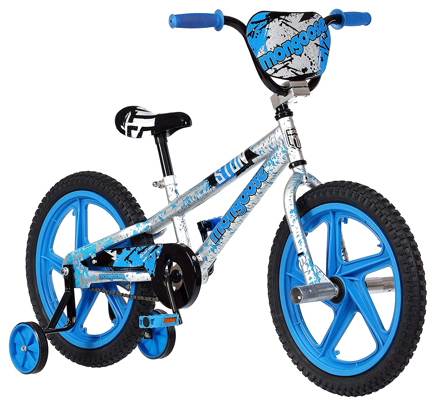 ef8a88f2942 Amazon.com : Mongoose Stun Boy's Freestyle BMX Bike with Training Wheels,  18-Inch Wheels, Blue : Sports & Outdoors