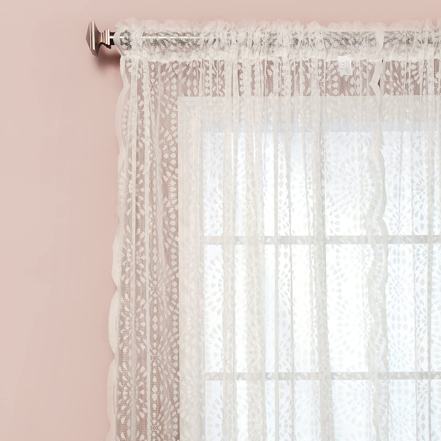 Lace Bedroom Curtains Amazoncom Best Home Fashion Sheer Lace Curtains Rod Pocket