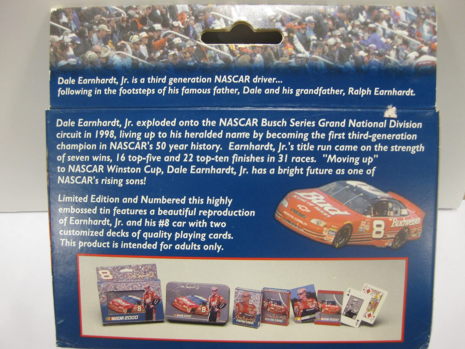 #8 Dale Earnhardt Jr 2-decks Playing Cards in Collectible TIN! Nascar 2000