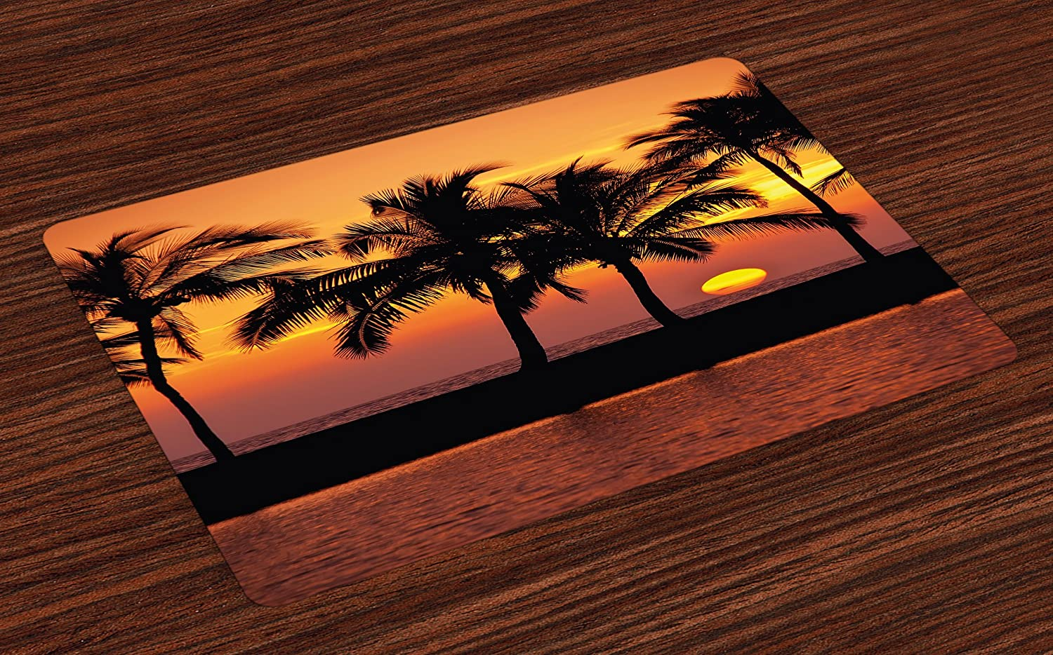 Lunarable Palm Tree Place Mats Set of 4, Caribbean Horizon Dusk Time Romantic Peaceful Tranquil Coastal Charm Scenery, Washable Fabric Placemats for Dining Room Kitchen Table Decoration, Orange Black
