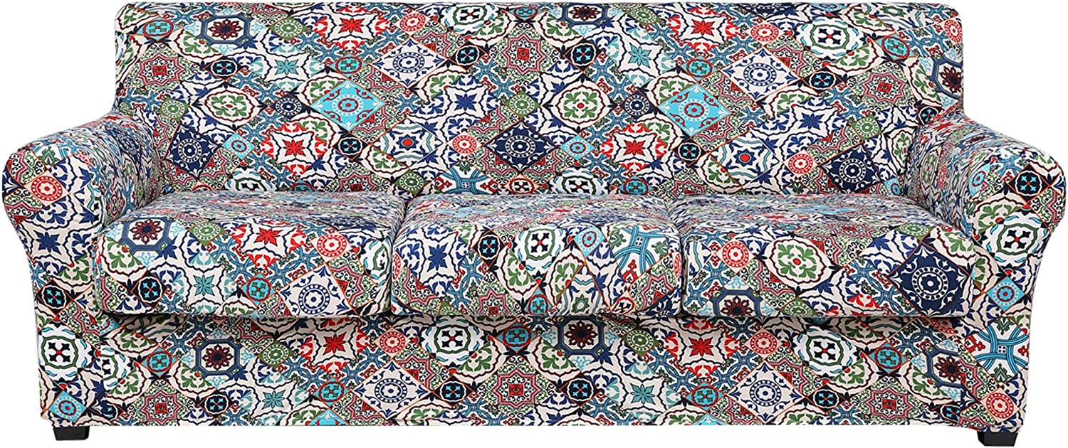 hyha Printed Couch Cover for 3 Cushion Couch - Floral Pattern Sofa Cover with Separate Cushion Cover, 4 Pieces Stretch Sofa Slipcover Washable Furniture Protector (Sofa, Patchwork Moroccan)
