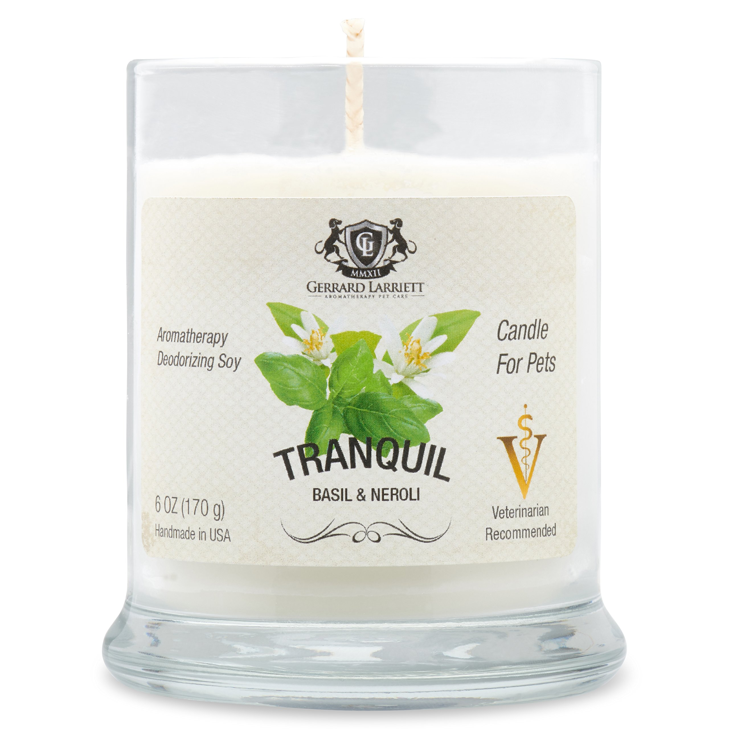 Aromatherapy Deodorizing Soy Candle For Pets, Candles Scented, Pet Odor Eliminator & Animal Lover Gift (Tranquil Basil & Neroli)