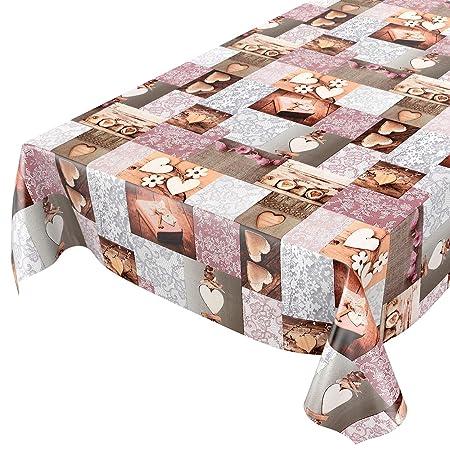Hule, mantel encerado para mesa, lavable, diseño de corazones ...