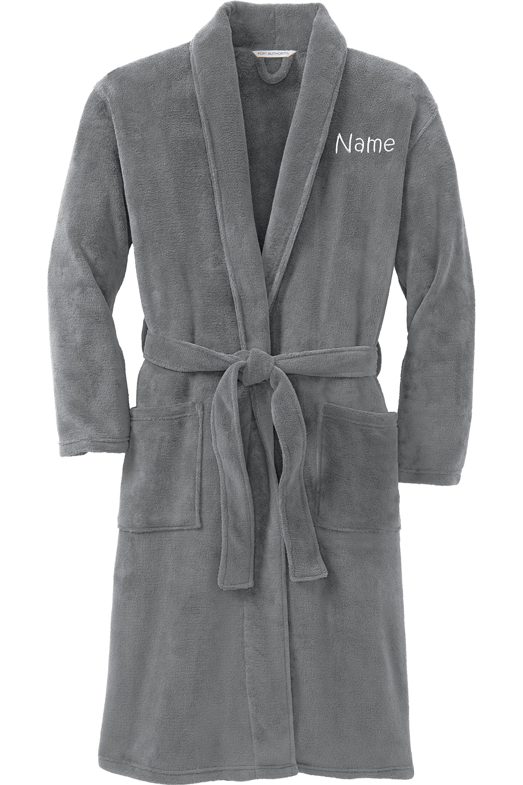 Personalized Plush Microfleece Robe with Embroidered Name, Smoke, Large/X-Large