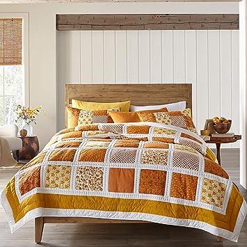 BrylaneHome Suma Patchwork Quilt - Orange Gold, Twin