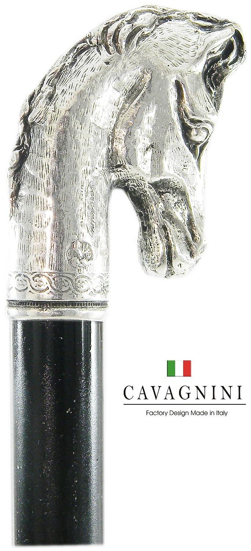 Bastone da passeggio cavallo regalo peltro e legno elegante colore argento vintage per uomo e per donna ortopedico Cavagnini ( incidiamo le tue iniziali)