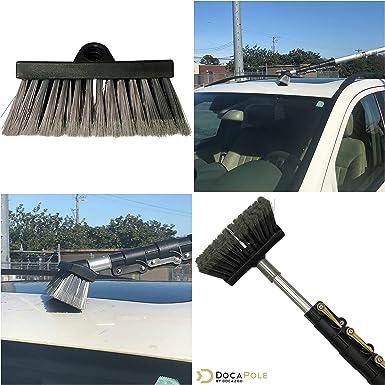 DocaPole 1,52 a 3,65 m Cepillo de cerdas suaves con palo extensible |Cepillo de lavado para el coche con palo telescópico | Cepillo de fregado de ...