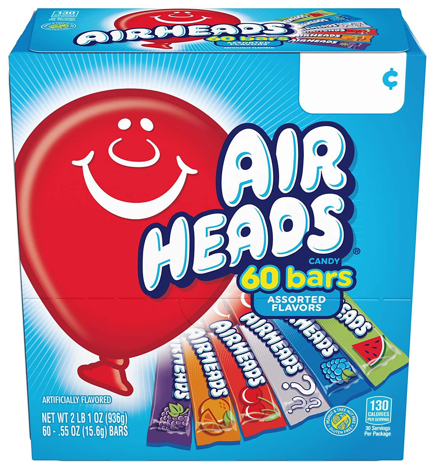 Airheads Candy Bars, Variety Stocking Stuffers Bulk Box, Chewy Full Size Fruit Taffy, Gifts, Back to School for Kids, Non Melting, Party 60 Count (Packaging May Vary), 60 Variety Airheads 91pPZ7Ch02BL
