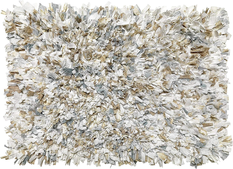 Carnation Home Fashions BM-M7L/41 Tie Dye Paper Shag Cotton/Poly Blend Bath Mat, Natural Rug, 21X34