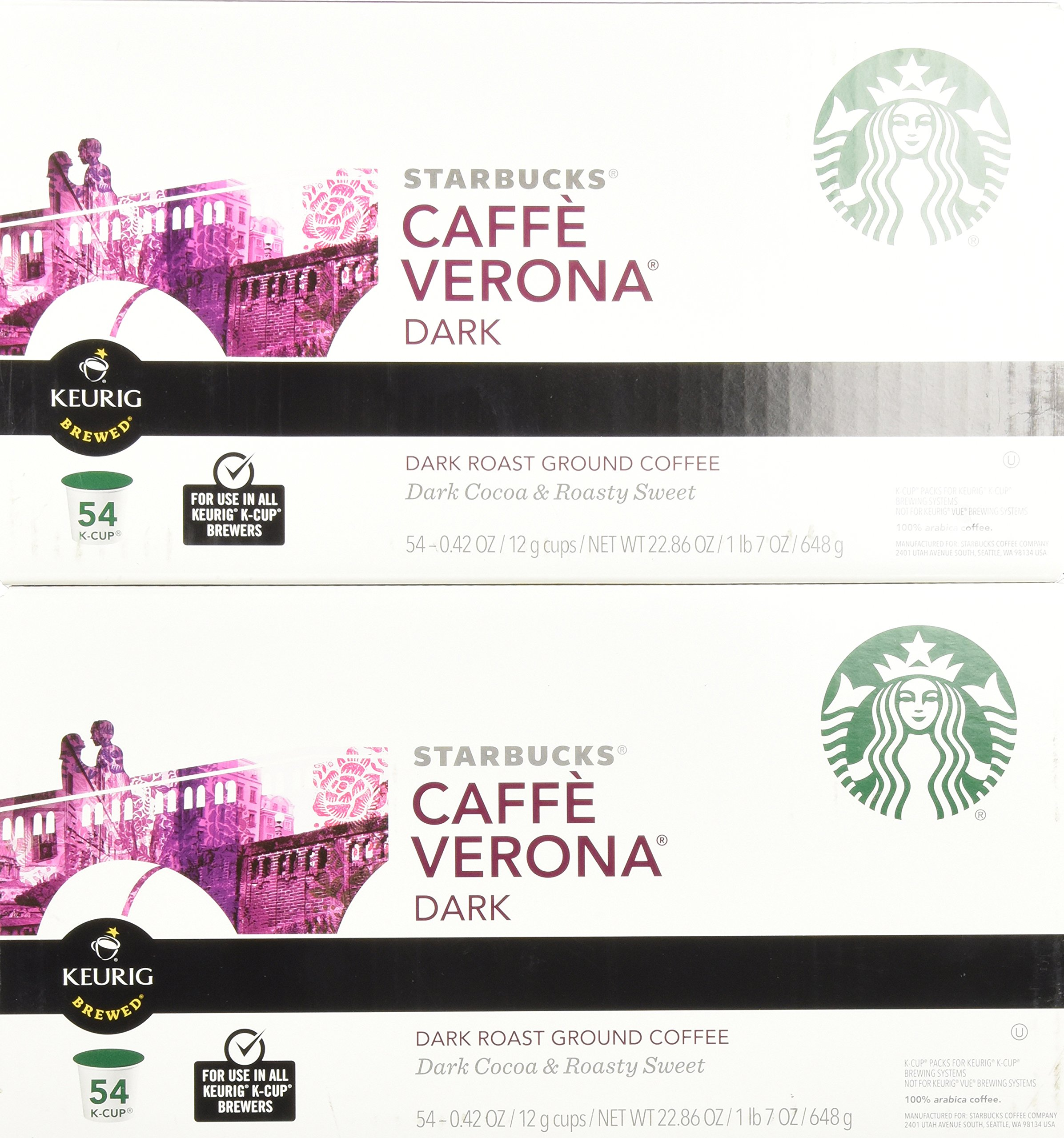 Starbucks Caffè Verona, Dark Roast, 108-Count K-Cups for Keurig Brewers by Starbucks (Image #2)