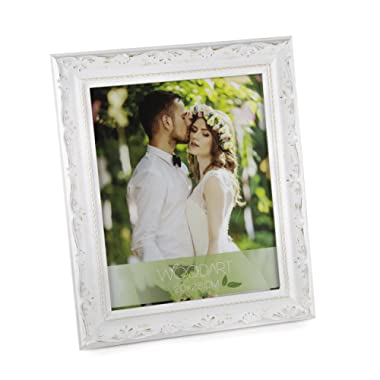 WoodArt Wooden Picture Frame (8x10 , White W/ Flowers)