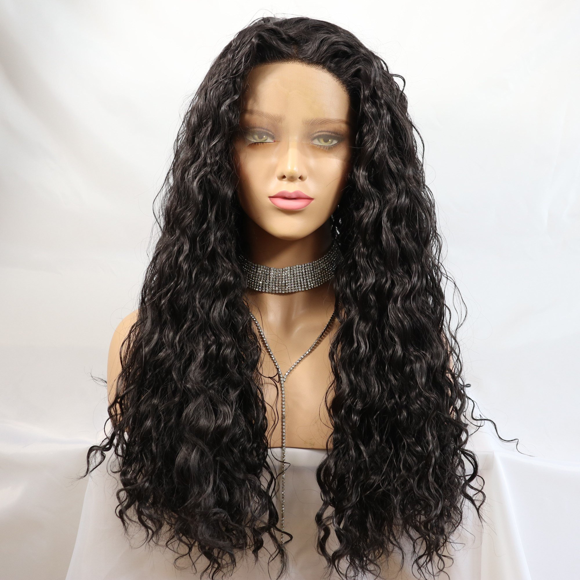 Meinod Loose Curly Synthetic Lace Front Wig Glueless Natural Looking Dark Brown Heat Resistant Fiber Hair Wigs For Women (color 2)