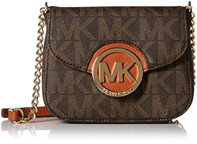 Michael Kors Fulton Womens Small Crossbody Handbag Brown: Handbags ...