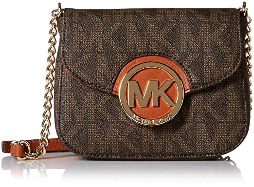 fff84bbd0857 Michael Kors Fulton Womens Small Crossbody Handbag Brown: Handbags ...