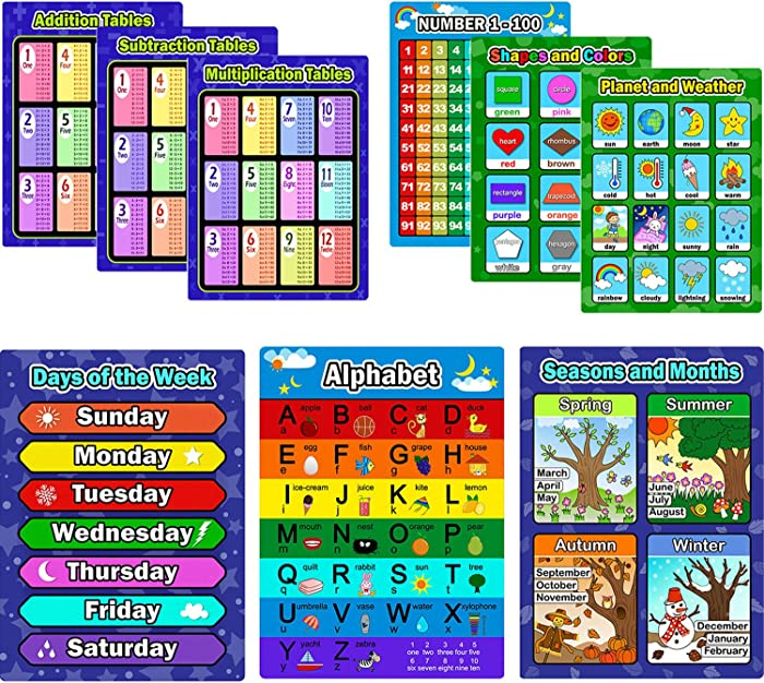 Bememo 9 Pieces Educational Preschool Posters Learning Poster Kit for Toddlers, Alphabet, Number 1-100, Shapes and Colors, Seasons and Months, Planet and Weather, Days of the Week, Addition Subtractio