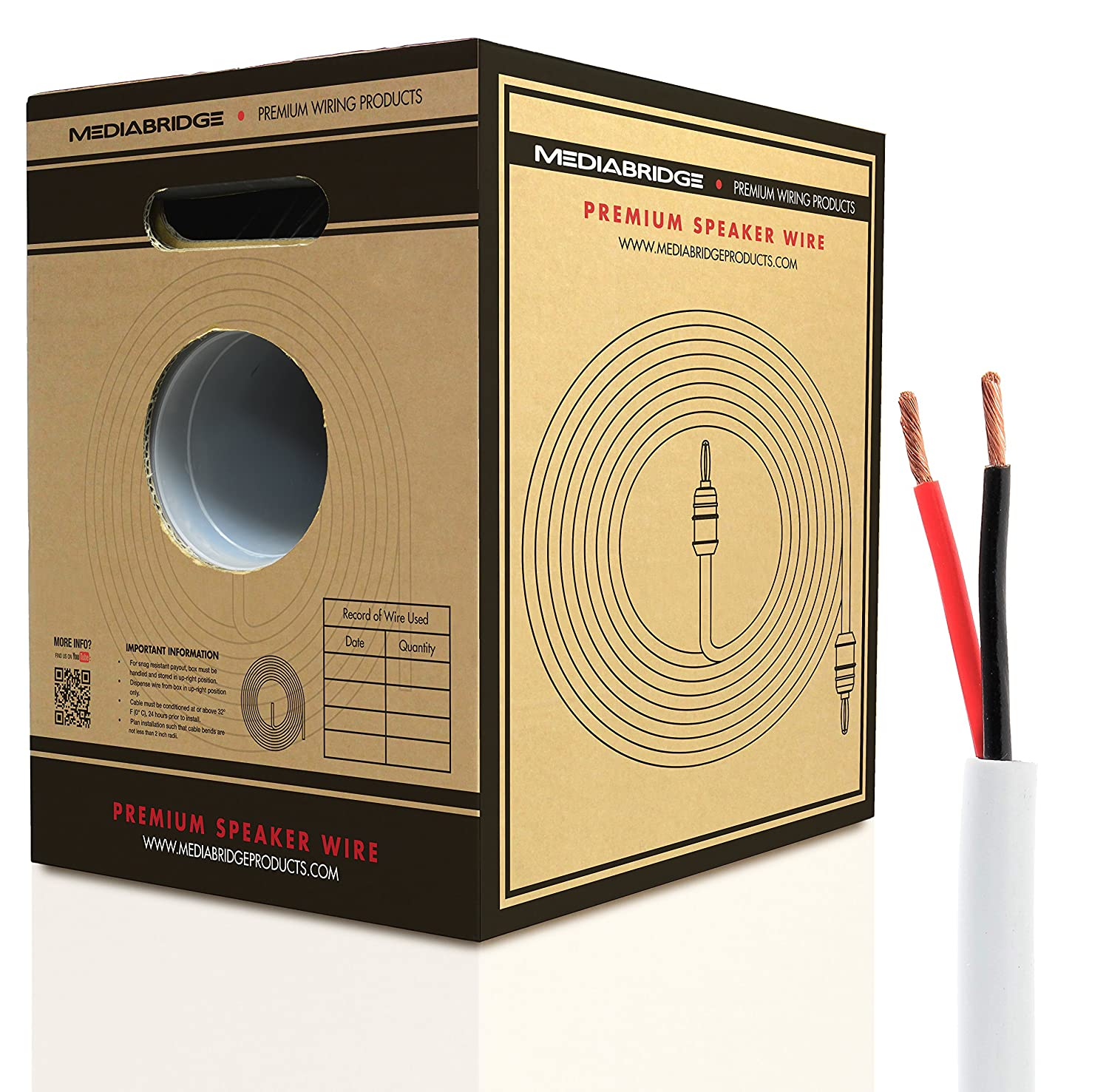 Mediabridge 14awg Speaker Wire W Pull Out Box 500 Ft Wiring Home Audio Equipment White 999 Oxygen Free Copper Cl2 For In Wall Sw 14x2 Wh Electronics