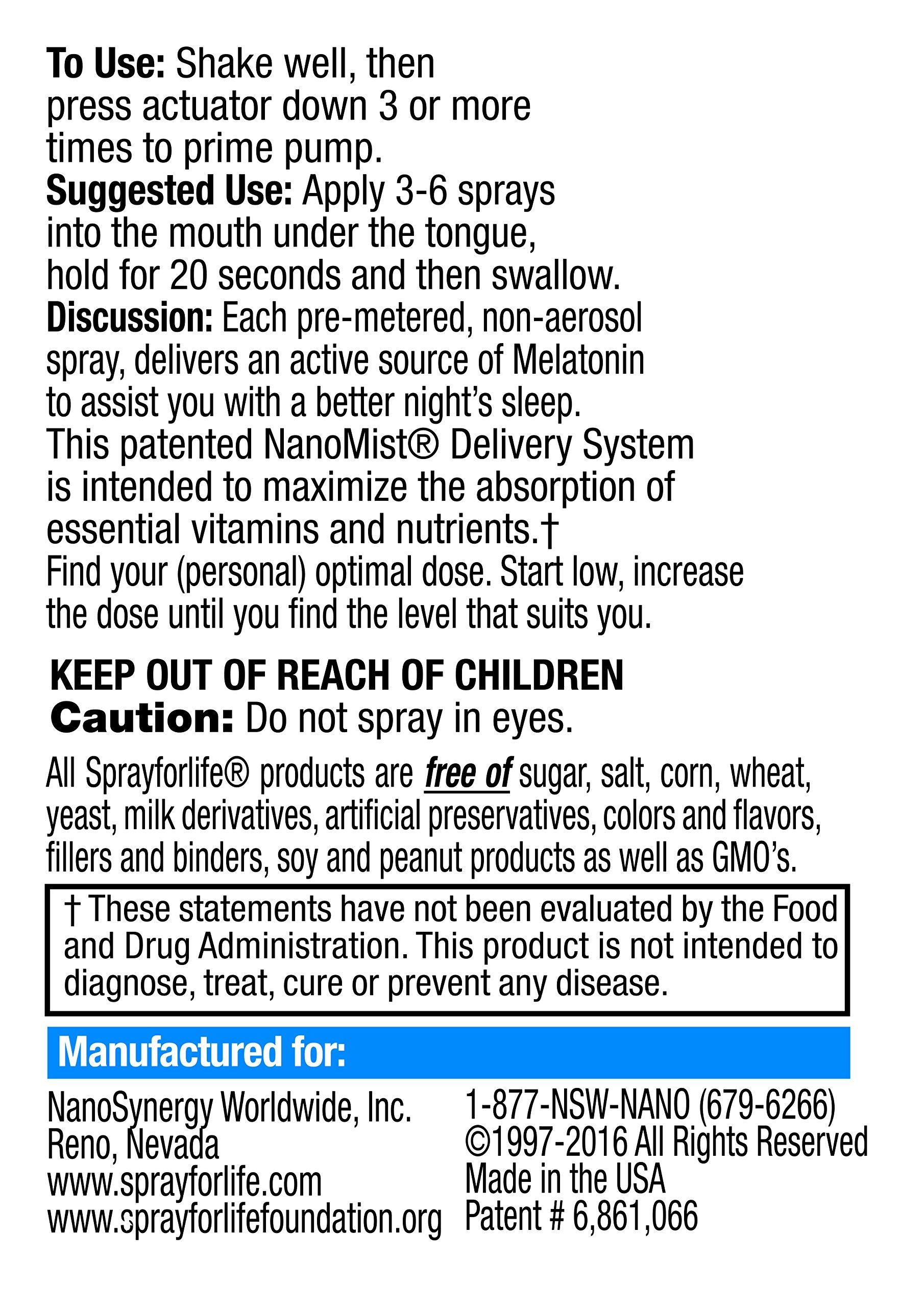 Spray for Life Melatonin Spray with Nanotechnology for Improved Sleep Guaranteed 1oz - Spearmint & Lemon - 30 Day Supply by Spray For Life (Image #4)