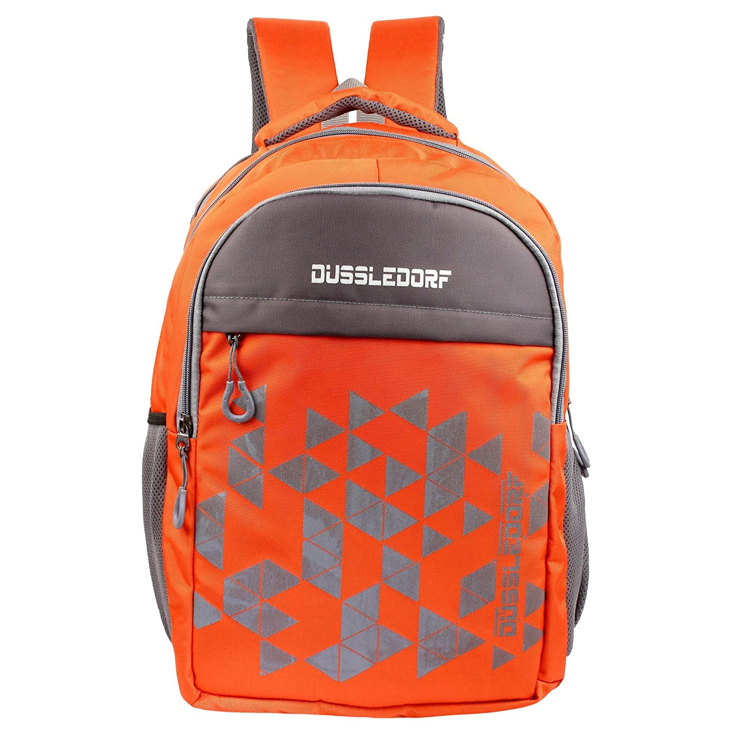 Dussledorf Polyester 25 Liters Orange and Grey Laptop with 2 Compartment Backpack