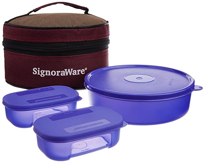 Signoraware Classic Plastic Lunch Box 3N containers Set with Bag 800ml+2N 140ml