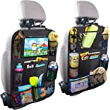 Car Backseat Organizer with Touch Screen Tablet Holder + 9 Storage Pockets Kick Mats Car Seat Back Protectors Great Travel Ac