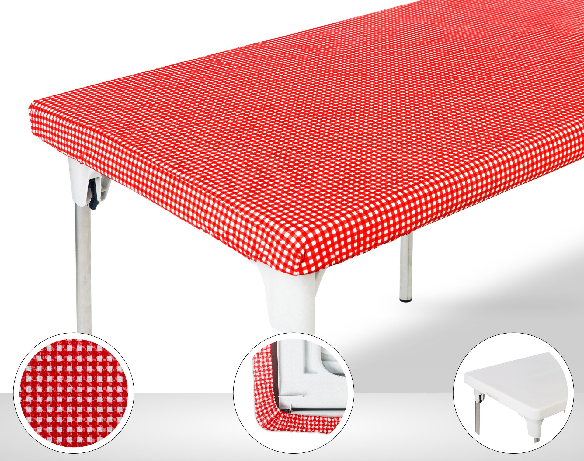 TopTableCloth Table Cover Red & White Checker Elastic on the corner for folding table 6ft (30'' x 72'') Waterproof Elastic Edge Stay-put Fitted Table Cloth for Christmas, Picnics, Parties and Outdoor