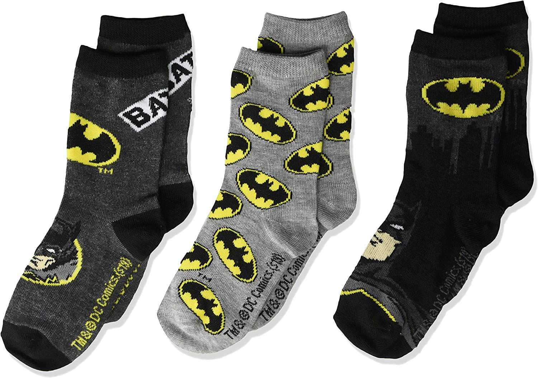BATMAN boys Batman 3 Pack Crew Casual Sock, Black Assorted, Shoe Size 3-8 US: Clothing