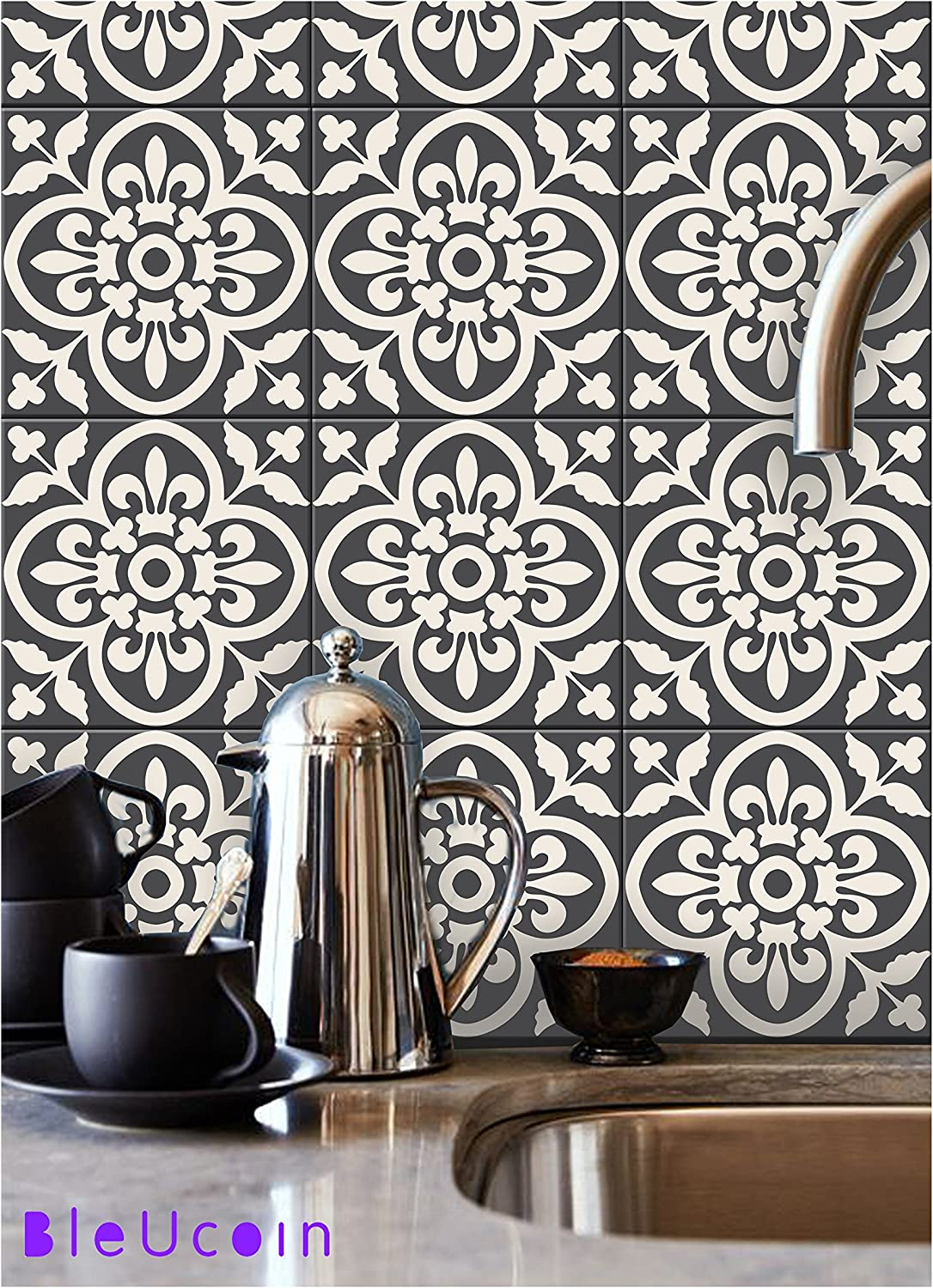 """Encaustic Moroccan Kitchen Bathroom Tile Stickers, Stair Riser Vinyl Decal, Peel & Stick DIY Home Decor (Pack of 44, Size: 6"""" x 6"""")"""
