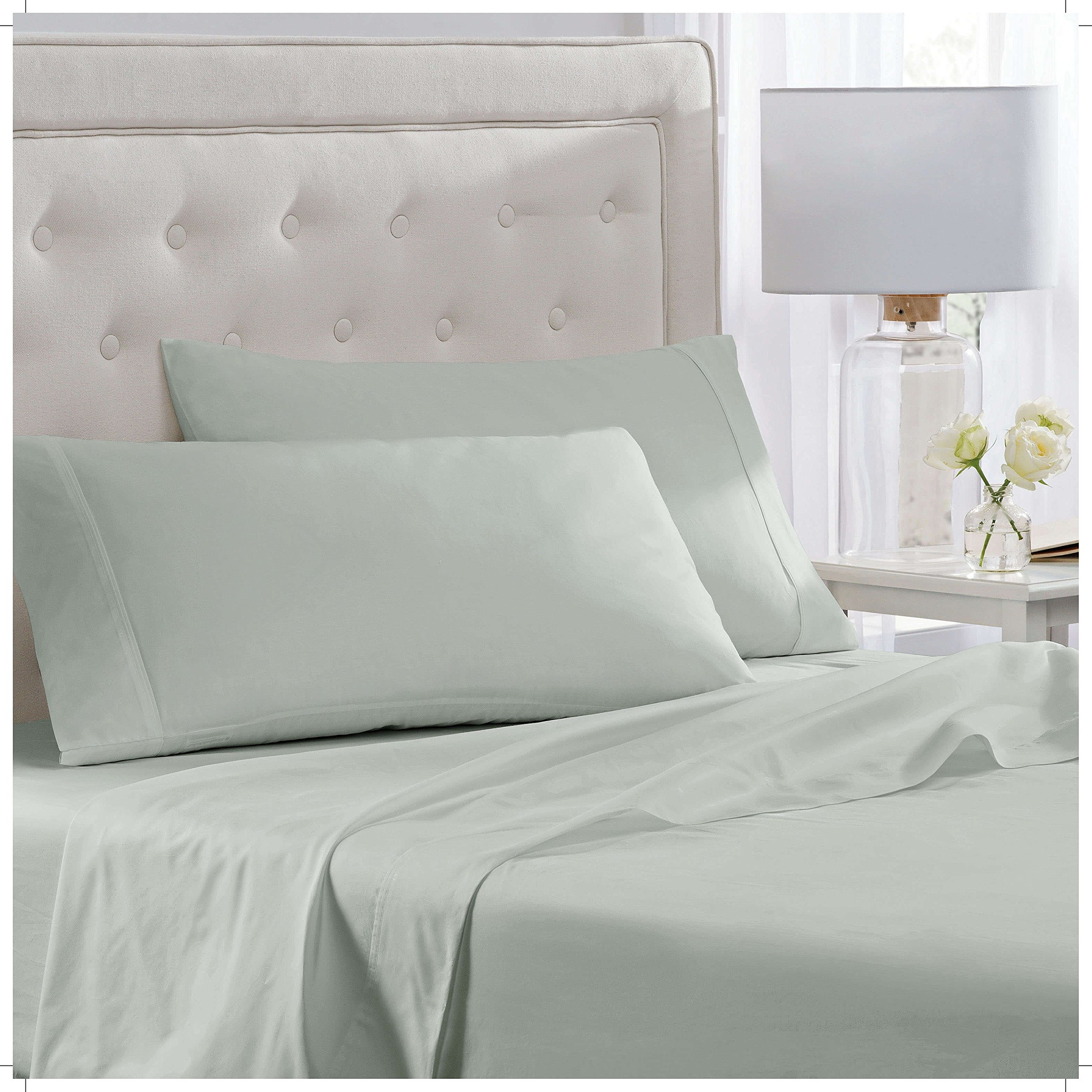 "Elizabeth Arden Light-Weight 100% Long-Staple Cotton Percale 4-Piece Sheet Set - Natural Pure 300 Thread Count – Crisp & Cool – Deep Fitted Pocket Fits Mattress up to 18"" - Full - Sage by Elizabeth Arden THE SPA COLLECTION (Image #3)"