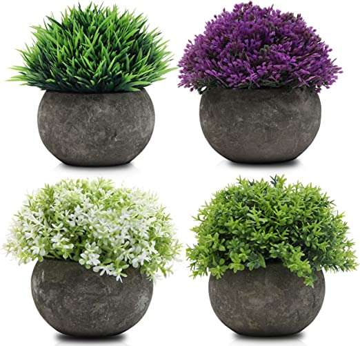 Mini Macetas Plantas Artificiales (Pack de 4) - (12 x 8,5cm ...