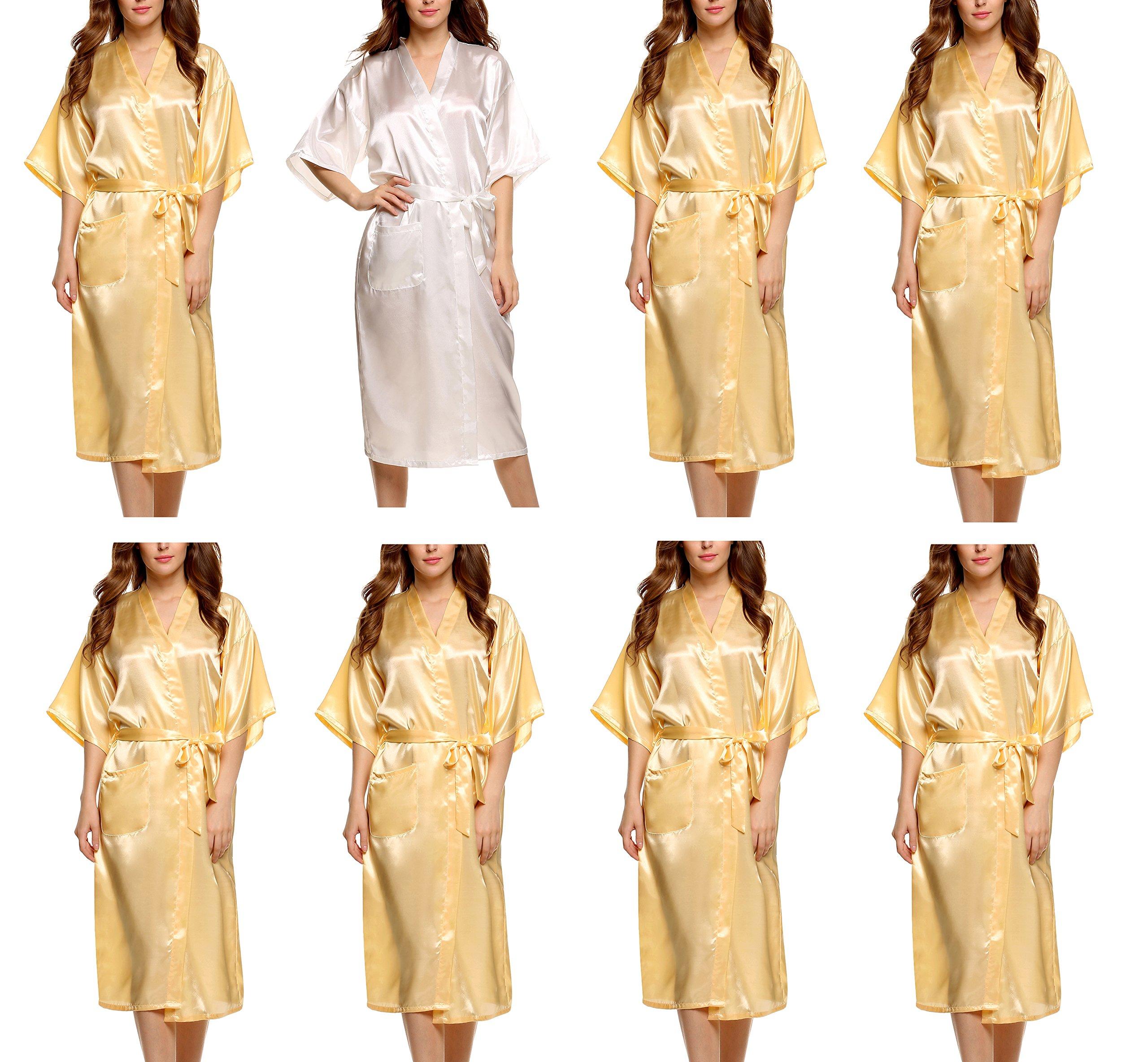 Avidlove Women's Bridesmaid Modern Peacock Kimono Robe Long Style 8 Packs by Avidlove