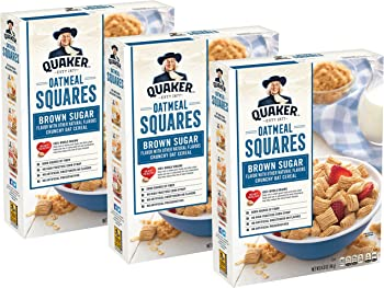 3-Pack Quaker Oatmeal Squares Whole Grain Cereal (14.5 oz)