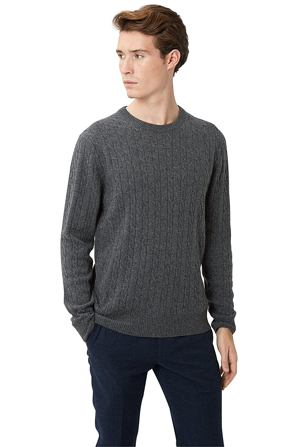 Moss London Men`s Charcoal Cable Crew Neck Jumper