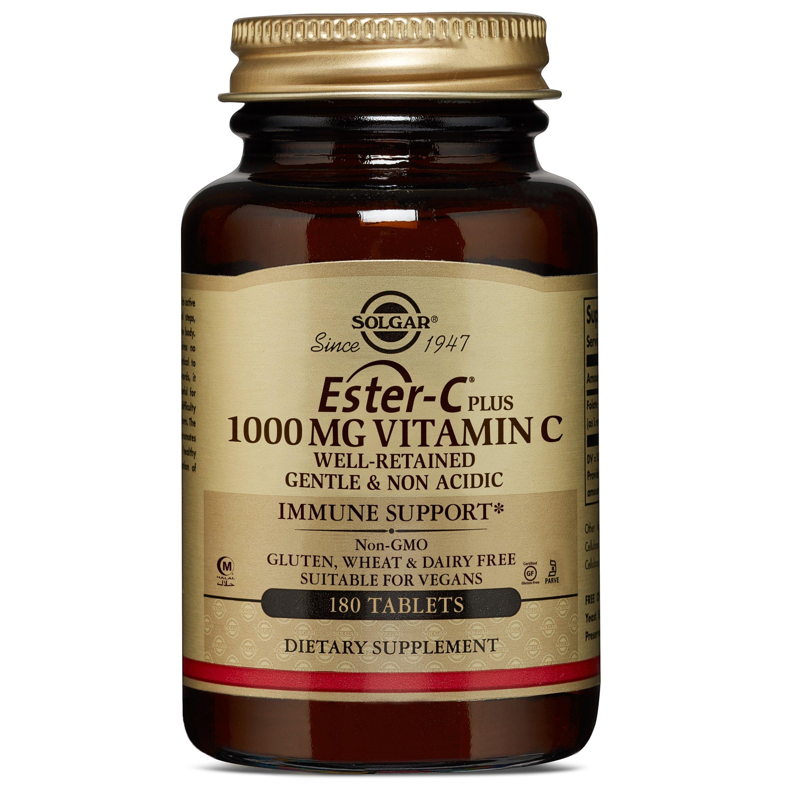 Solgar Ester-C® Plus 1000 mg Vitamin C, Immune Support, Well-Retained, Gentle & Non Acidic, Non-GMO, Suitable for Vegans, 180 Tablets