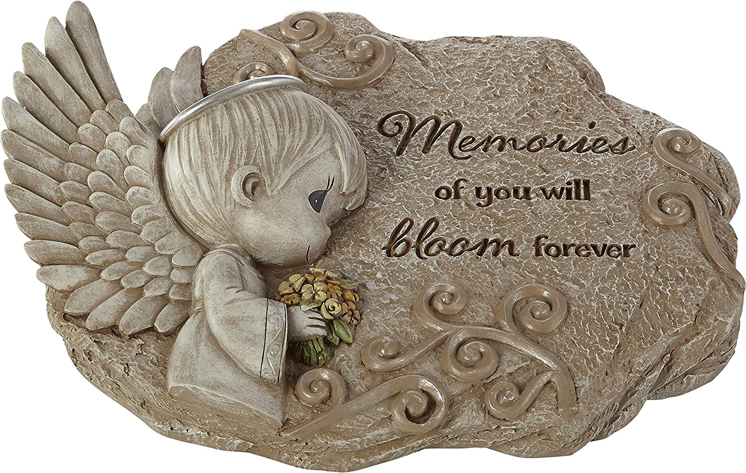 Precious Moments 203111 Memories of You Will Bloom Forever Resin Garden Stone, Multicolor