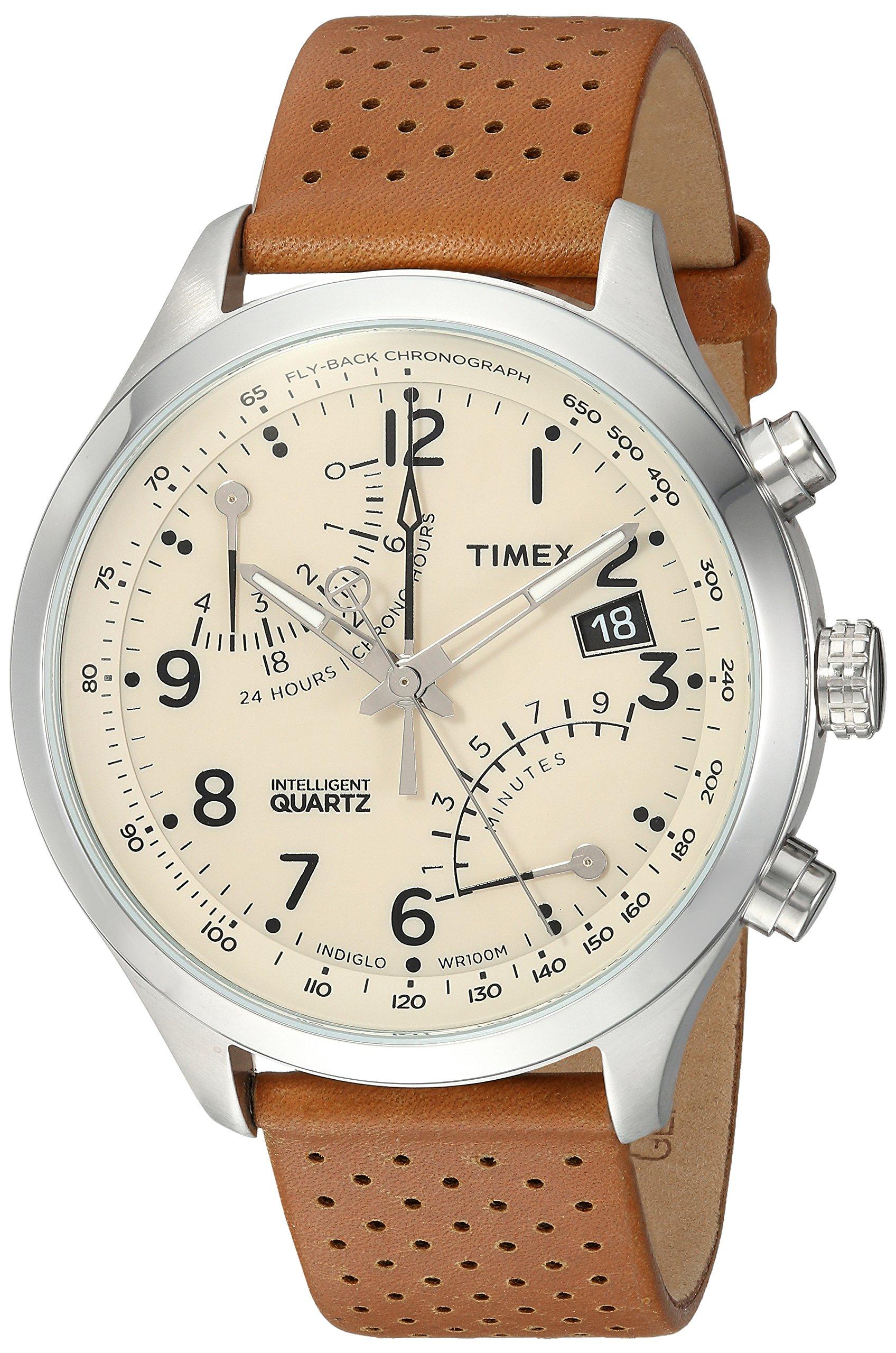 Timex Men's TW2R55300 Intelligent Quartz Fly-Back Chronograph Caramel Brown Leather Strap Watch
