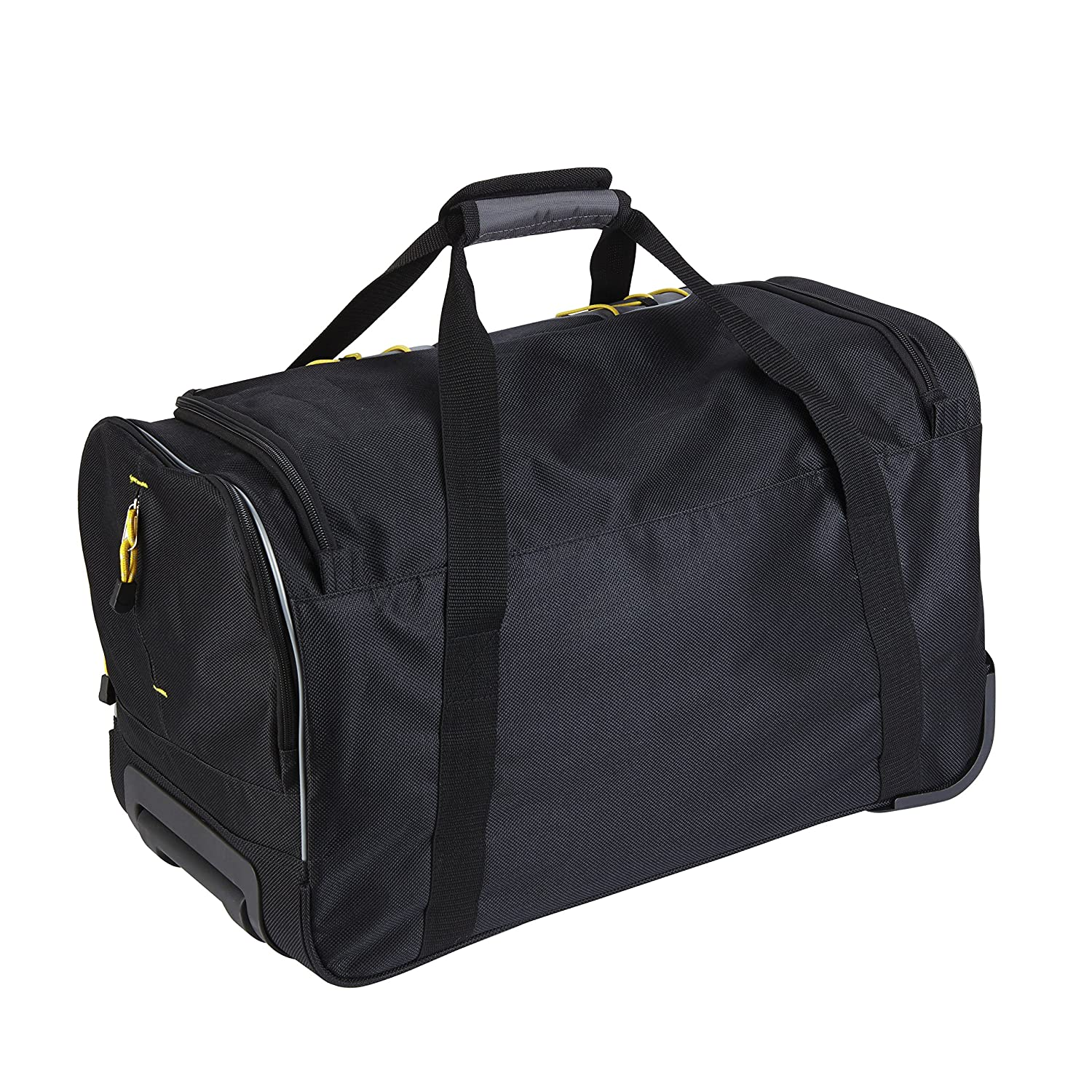 TPRC 21 Black with Yellow Trims Sierra Madre Sport Rolling Weekender Duffel with Dual Side Pockets