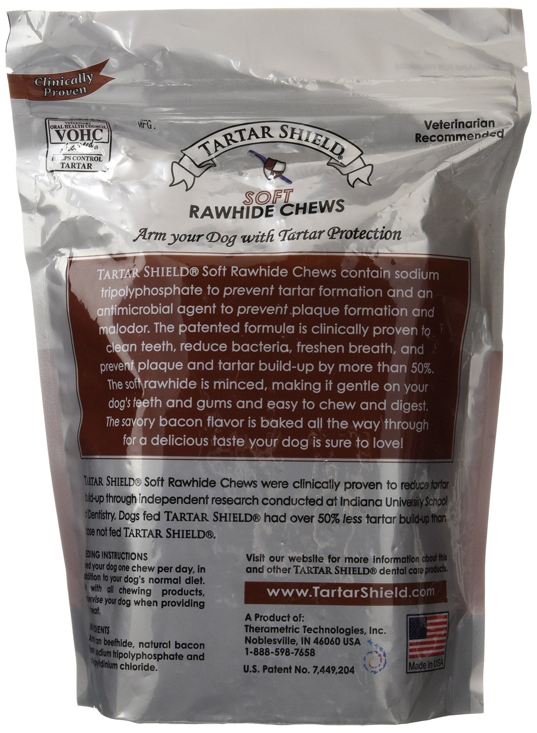 Tartar Shield Soft Rawhide Chews for Large Dogs,24 count